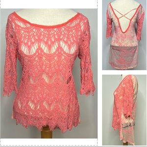 CRASH & BURN Crochet Lace Scalloped Hem Pink Top M